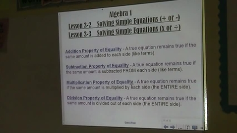 Thumbnail for entry Alg Lesson 3-2 and 3-3 Solving 1-step Equations Part 1