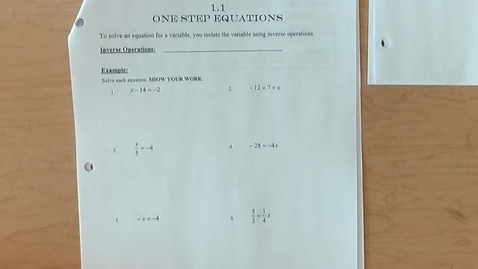 Thumbnail for entry One & Two Step Equations