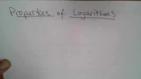 Thumbnail for entry Adv Mth BD E06 (TSW 6) - Properties of Logarithms