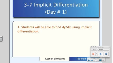 Thumbnail for entry 3-7 Implicit Differentiation (Day # 1)