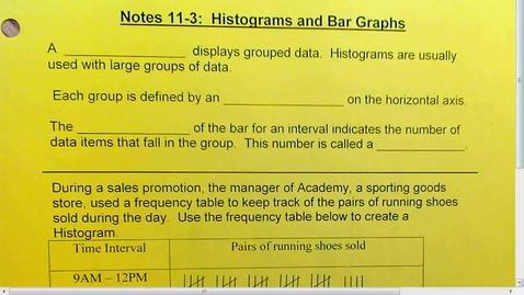 Thumbnail for entry 11.3 Histograms and Bar Graphs