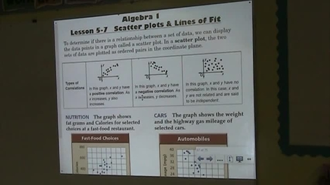 Thumbnail for entry Alg Lesson 5-7 Scatterplots