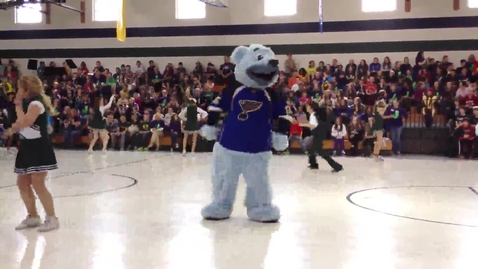 Thumbnail for entry Louie from the St. Louis Blues dances Gangnam Style with the Hollenbeck Cheer Team