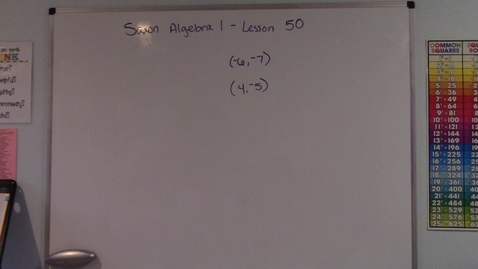 Thumbnail for entry Saxon Algebra 1 - Lesson  50 - Cartesian Coordinate System and Ordered Pairs