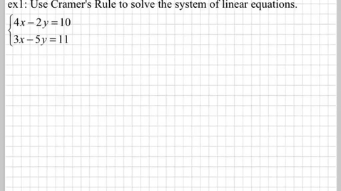 Thumbnail for entry How do you use Cramer's Rule?