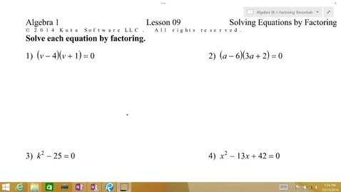 Thumbnail for entry Algebra 1B Lesson 09 #1-4