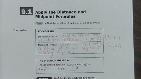 Thumbnail for entry Alg 2 9.1 Distance & Midpoint Formulas