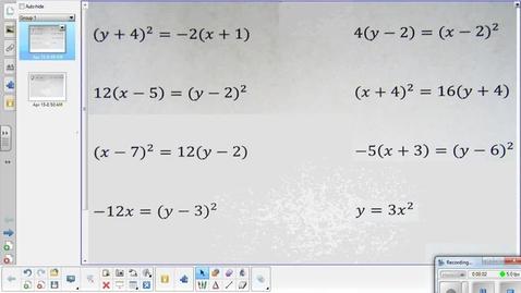 Thumbnail for entry Parabola conics lesson pt 2   4-15-15