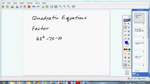 Thumbnail for entry Quadratic Equations