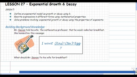 Thumbnail for entry Lesson 27: Exponential Growth & Decay