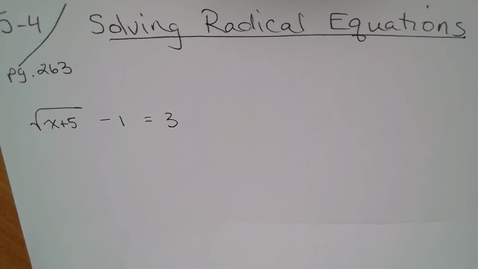 Thumbnail for entry Adv Mth 5-4 (TSW 6) Solving Radical Equations