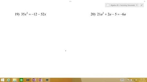 Thumbnail for entry Algebra 1B Lesson 09 #19-20