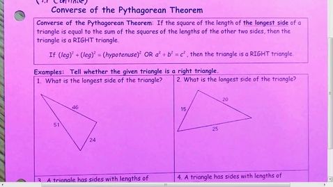 Thumbnail for entry 7.1 Converse of Pythagorean Theorem