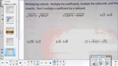 Thumbnail for entry Simplifying radical expressions lesson pt 2    11-13-14