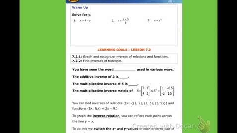 """Thumbnail for entry Alg2C Lesson 7:1 (book 7:2) """"Inverses of Relations and Functions"""""""