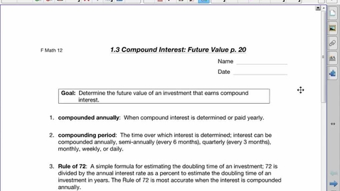 Thumbnail for entry FDN30 1.3 Compound Interest:Future Value