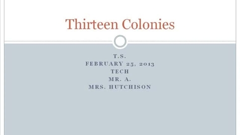 Thumbnail for entry TS Hutchison 13 Colonies