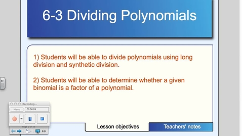 Thumbnail for entry 6-3 Polynomial Long Divison