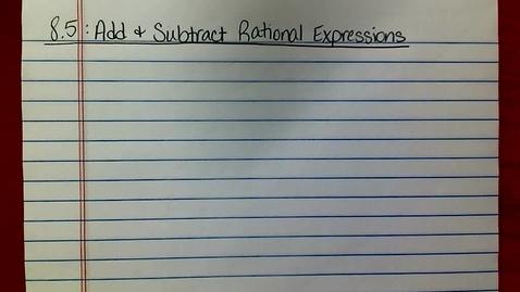 Thumbnail for entry Pre-AP Alg 2 Lesson 8.5
