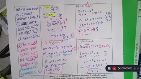 Thumbnail for entry 9-13 Pre Calc Solving Radicals (more than 1 varialbe) & Rational Exponents