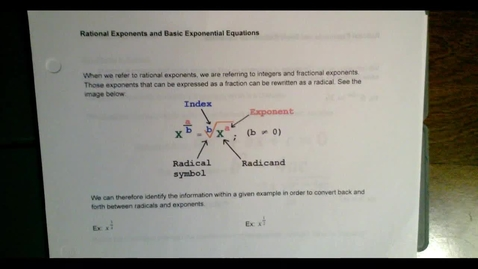 Thumbnail for entry Rational Exponents and Basic Exponential Equations