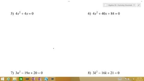 Thumbnail for entry Algebra 1B Lesson 09 #5-8