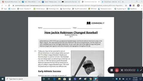 Thumbnail for entry Grade 7 - Jackie Robinson - Informational Text