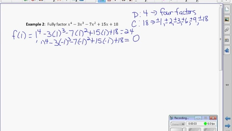 Thumbnail for entry PC30 3.3B Factor Theorem Part II