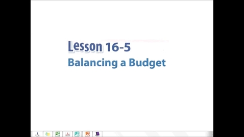 Thumbnail for entry Balancing a Budget
