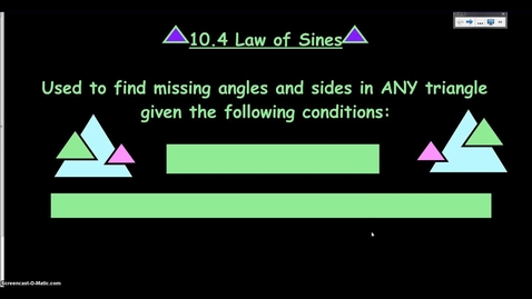 Thumbnail for entry Law of Sines (2014)
