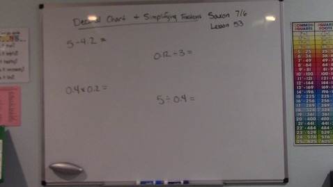 Thumbnail for entry Saxon 7/6 - Lesson 53 - Decimal Chart & Simplifying Fractions