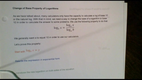 Thumbnail for entry Logarithms-Change of Base