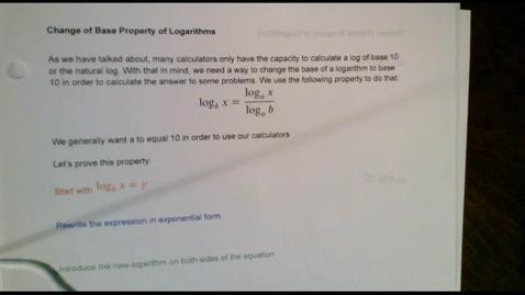 Thumbnail for entry Logarithms-Change of Base