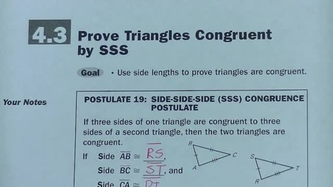 Thumbnail for entry Geom Sec 4.3 Prove by SSS