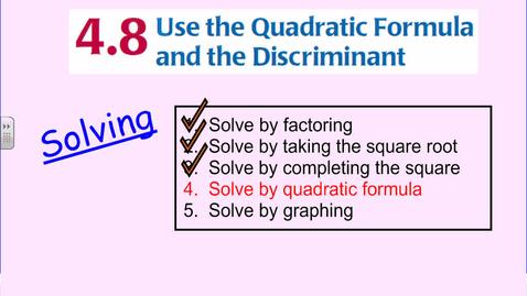 Thumbnail for entry The Quadratic Formula