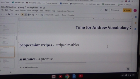 Thumbnail for entry Seventh Vocabulary Sheet for Time for Andrew by Mary Downing Hahn