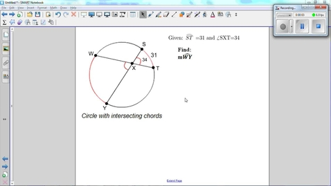 Thumbnail for entry Special Angles and Arcs in Circles, interesecting chords in a circle.