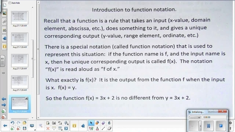 Thumbnail for entry Domain, range, and functions lesson pt 2   8-31-15