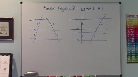 Thumbnail for entry Saxon Algebra 2 - Lesson 1 - Proportional Segments in Transversals - Homework #4