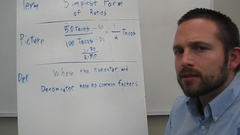 Thumbnail for entry Vocabulary Simplest Form: Ratio