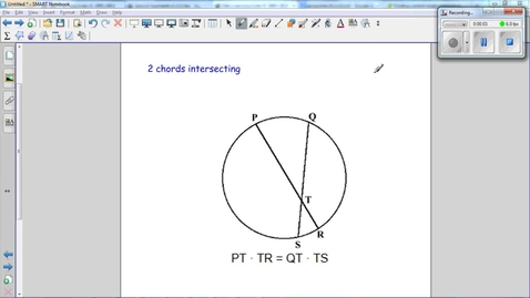 Thumbnail for entry Special Segments in Circles, Use the figure below and the properties of a chord to find x.