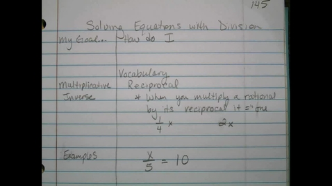 Thumbnail for entry Solving Equations With Division