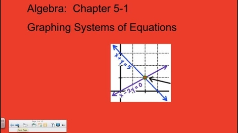 Thumbnail for entry Algebra Chapter 5-1  Graphing Systems of Equations