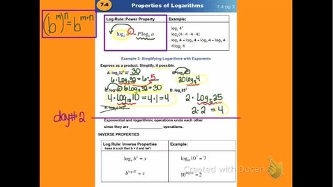 "Thumbnail for entry Alg2C Lesson 7:4 ""Properties of Logarithmic - Part 2"""