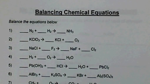 Thumbnail for entry Balancing Chemical Equations WS