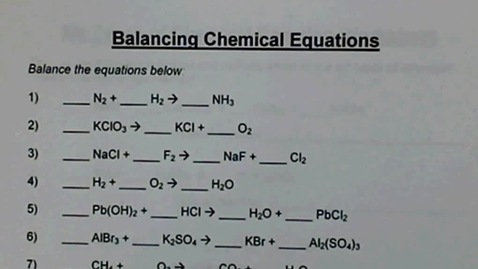 Thumbnail for entry Balancing Chemical Equations WS