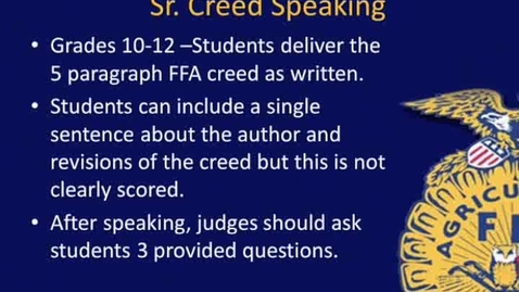 Thumbnail for entry NY FFA Sr. Creed Contest Overview