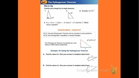 """Thumbnail for entry GeoA Lesson 5:7 """"The Pythagorean Theorem"""""""