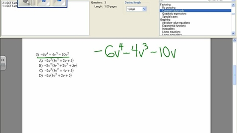 Thumbnail for entry Factoring with GCF example 3