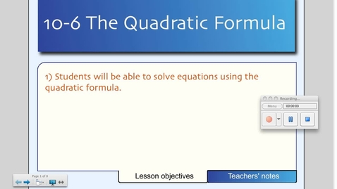 Thumbnail for entry 10-6 The Quadratic Formula